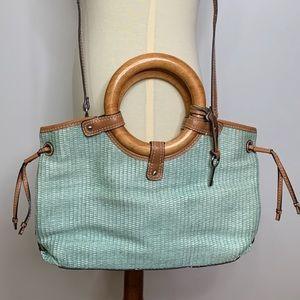 Fossil purse handbag crossbody wooden handles